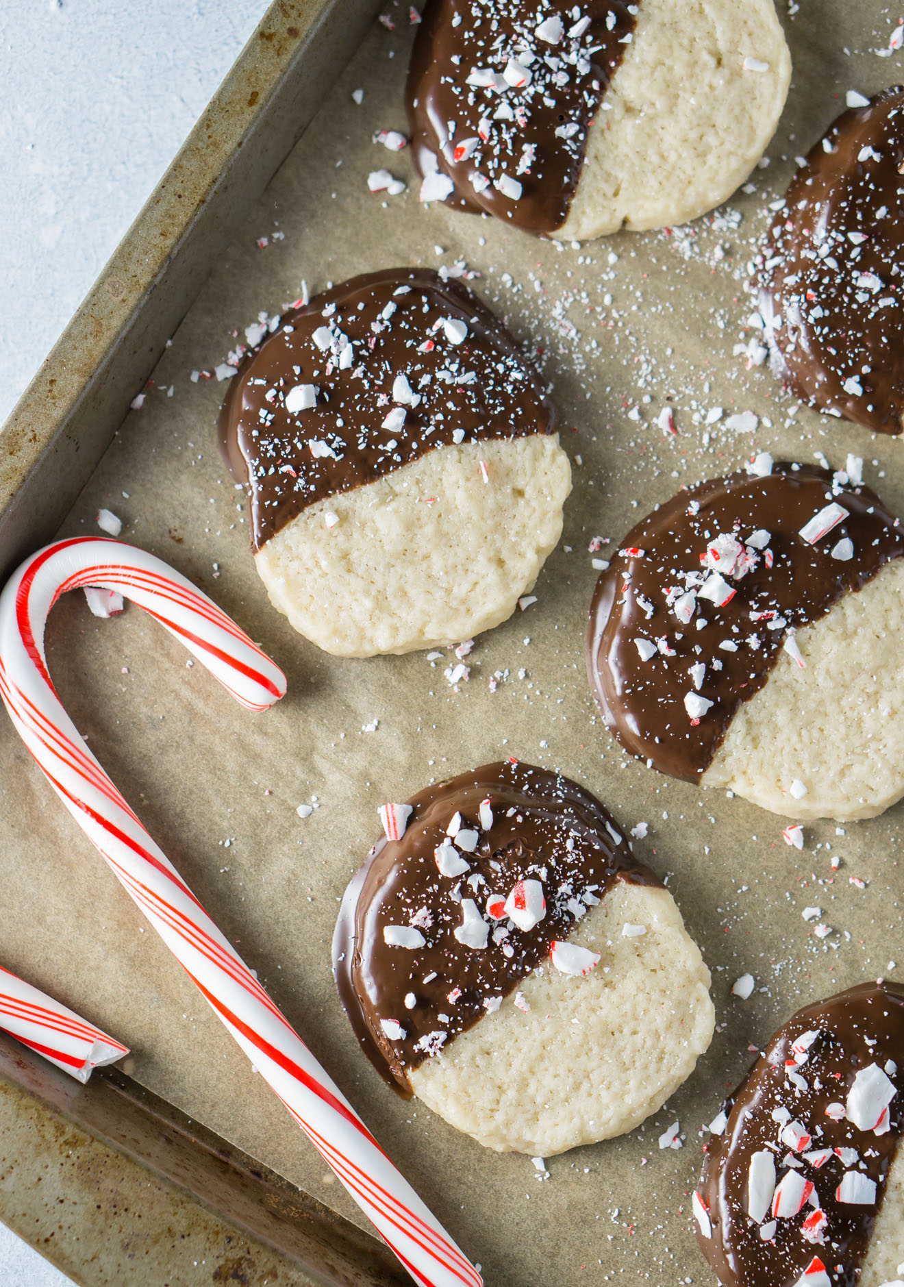 Vegan Candy Cane Shortbread Cookies