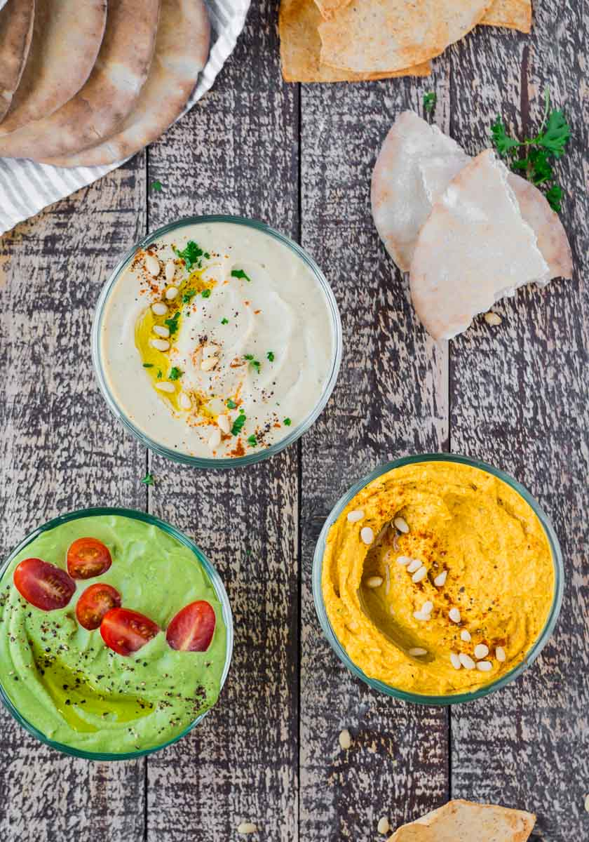 This Everyday Hummus - Three Ways by @eatlovenamaste is the perfect dip for wholesome snacking! Made with natural ingredients and super quick to make! #hummusrecipes #simplehummusrecipes
