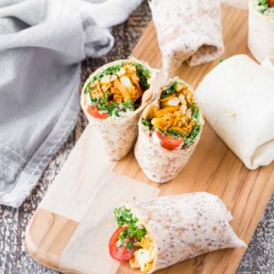 Roasted Sweet Potato and Cauliflower Hummus Wraps