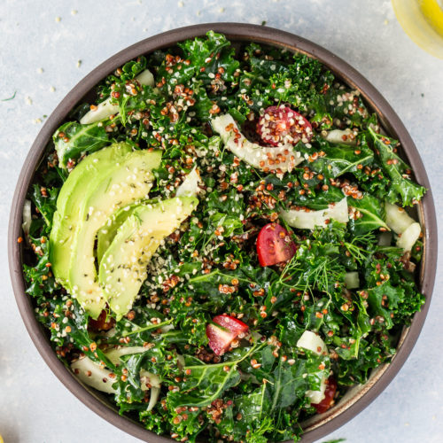 Kale & Red Quinoa Salad with Lemon Vinaigrette
