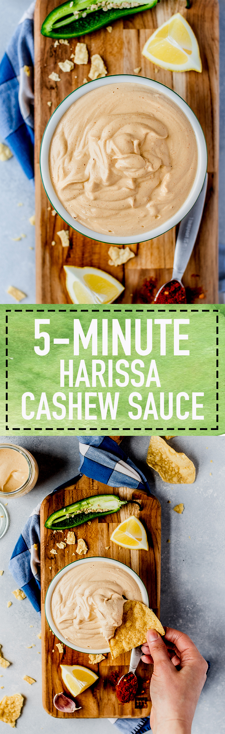 5-Minute Harissa Cashew Sauce that requires 7 ingredients! The perfect, creamy sauce for chips, or for adding to tacos, wraps, and more! #dip #vegan #cashewsauce