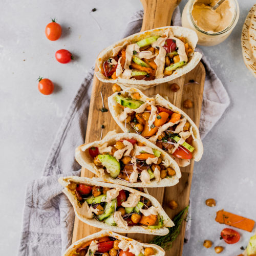 Roasted Chickpea & Sweet Potato Pitas