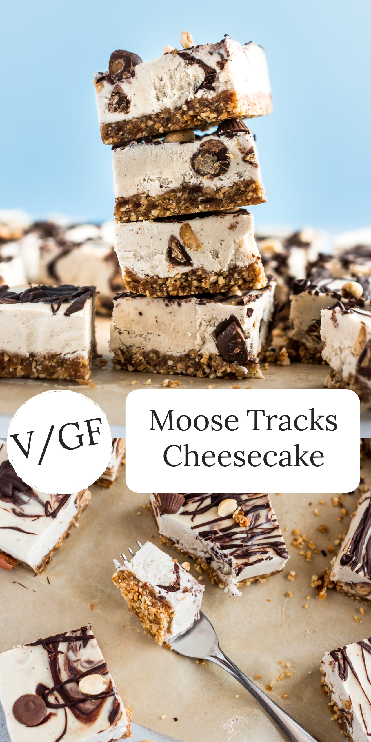 This Vegan Moose Tracks Cheesecake is super delicious, creamy, and packed with peanut butter cups, peanuts, and chocolate, making it a decadent dessert! #vegan #dessert #feed #vegancheesecake #moosetracks