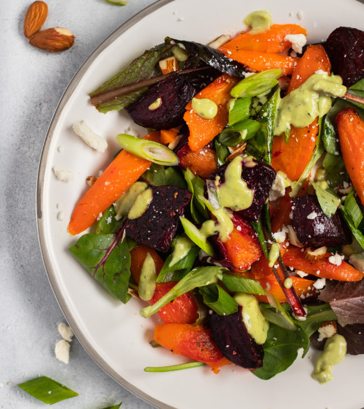 Roasted Beet & Carrot Salad with Avocado Dressing