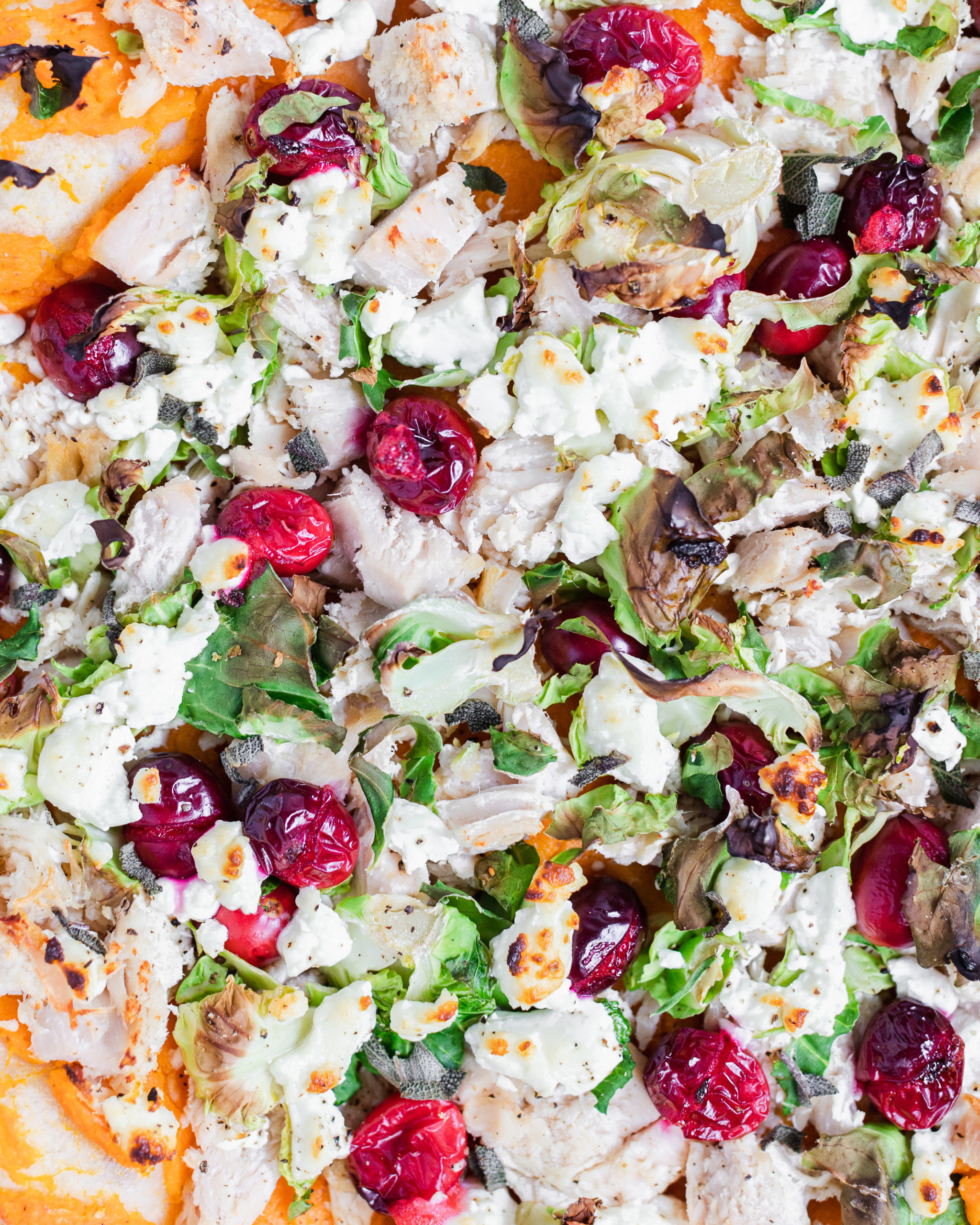 pizza with cranberry, turkey, and brussel sprouts