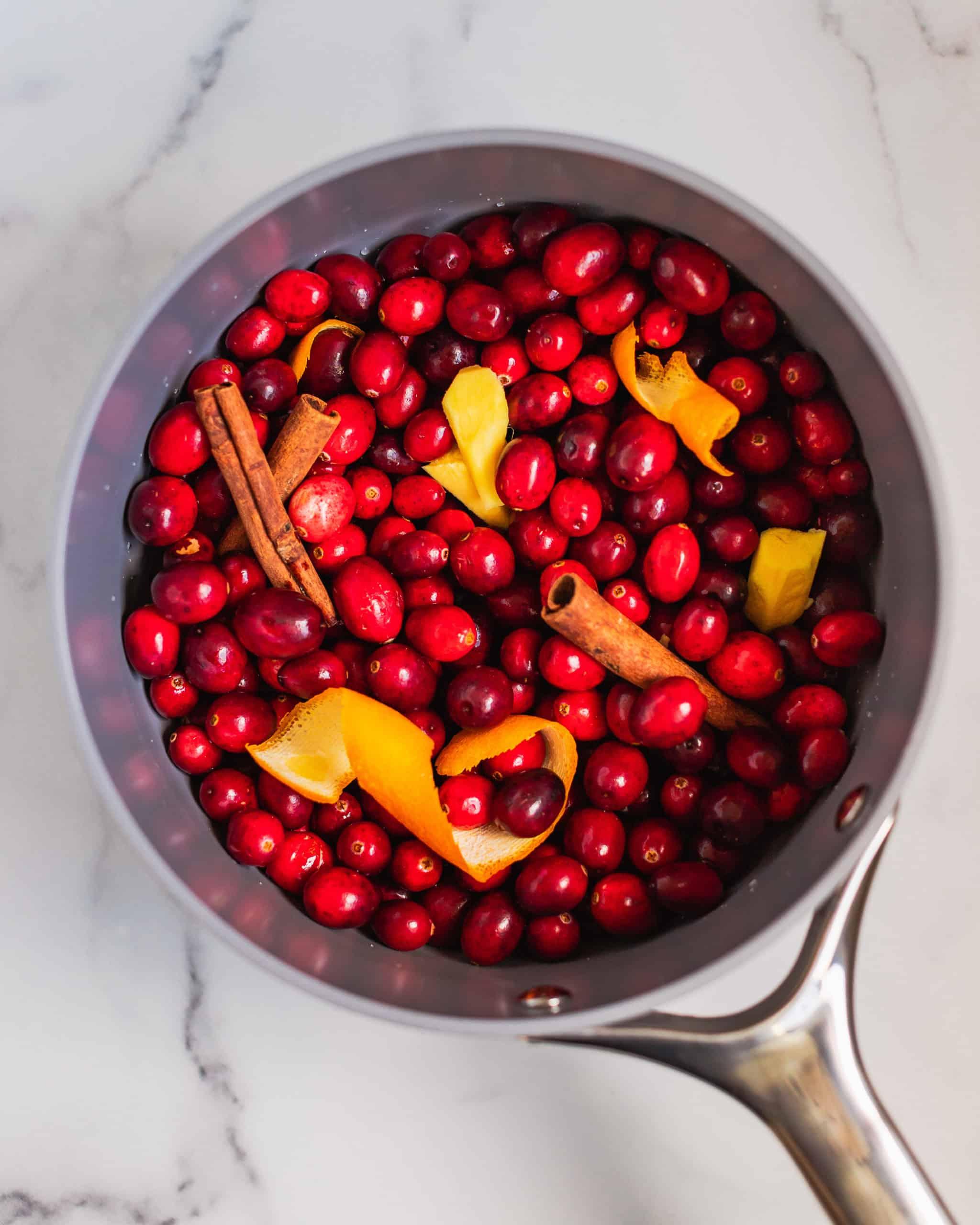cranberries with cinnamon and orange zest