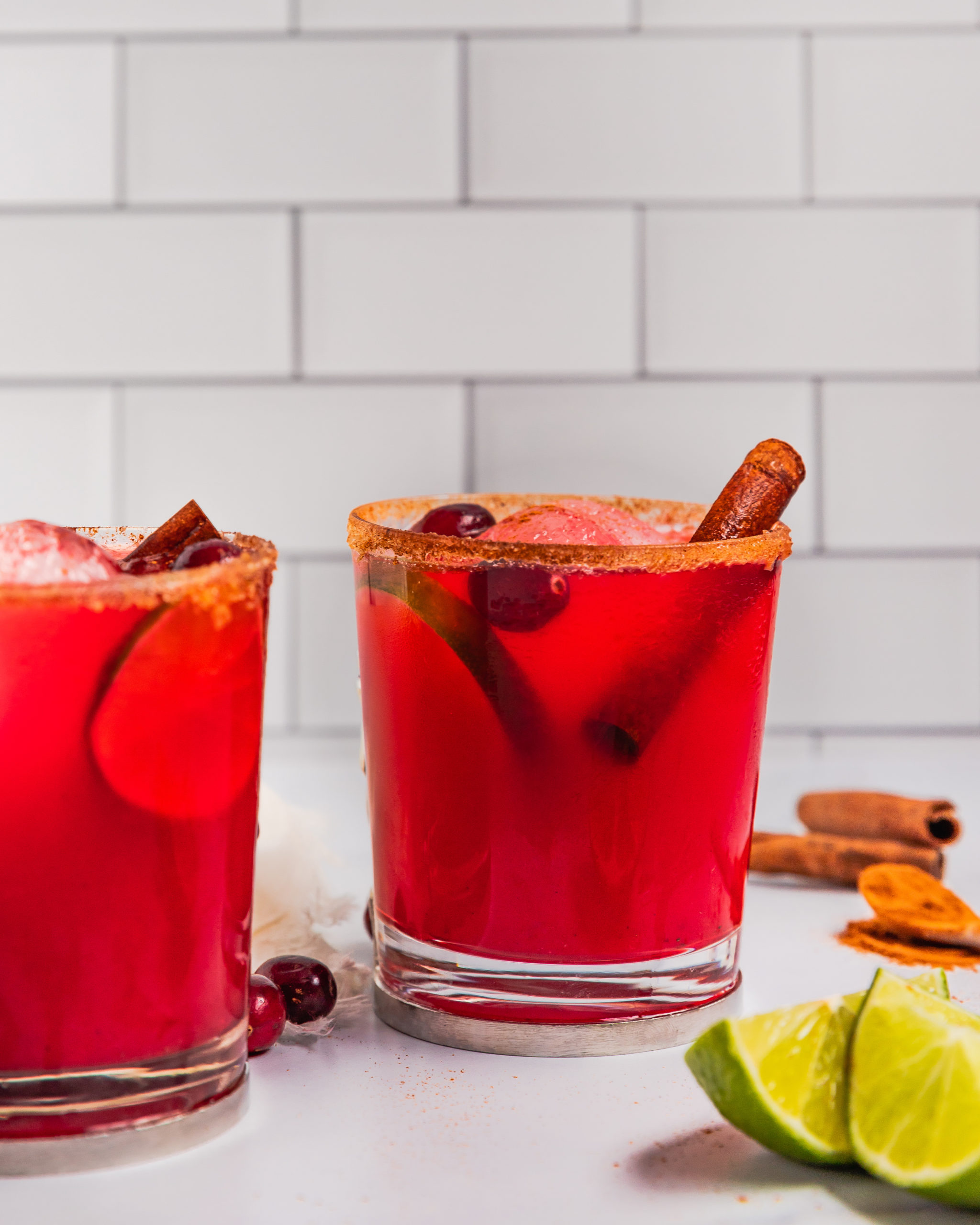 Margarita with spices and cranberries