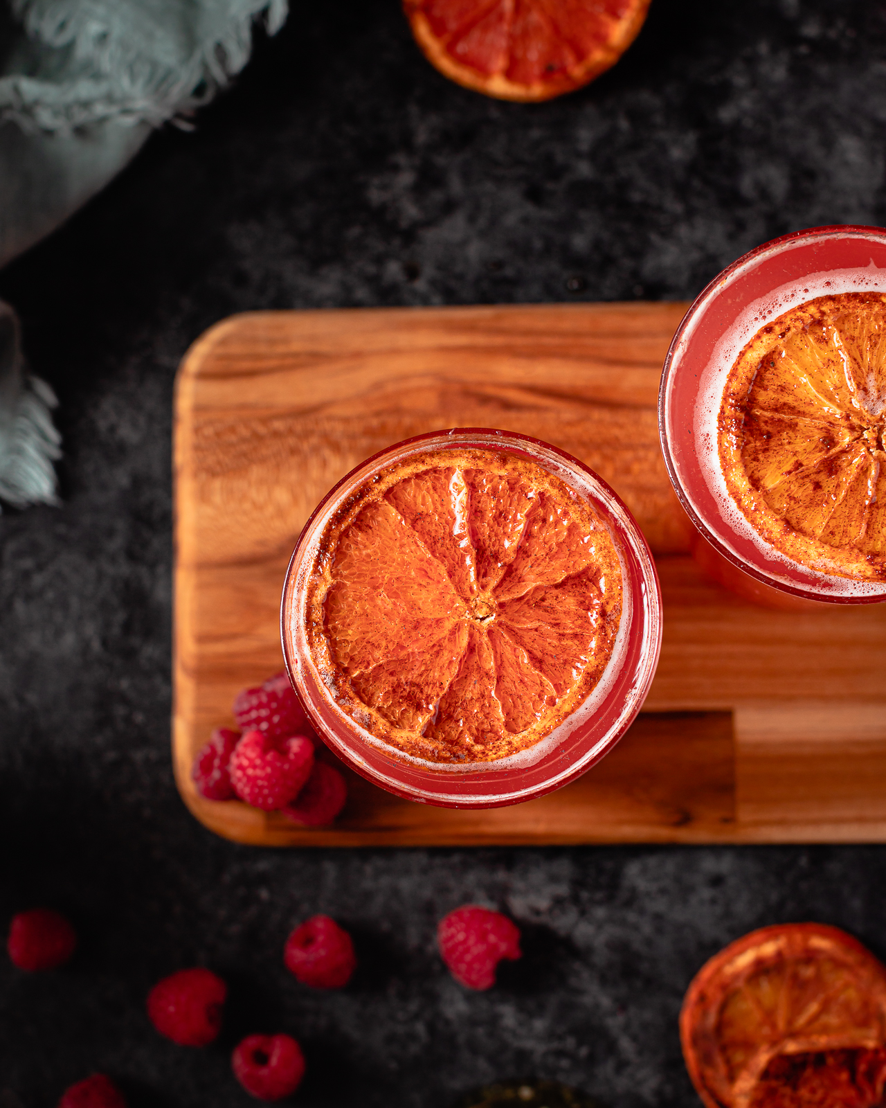 Champagne Cocktails with dried oranges
