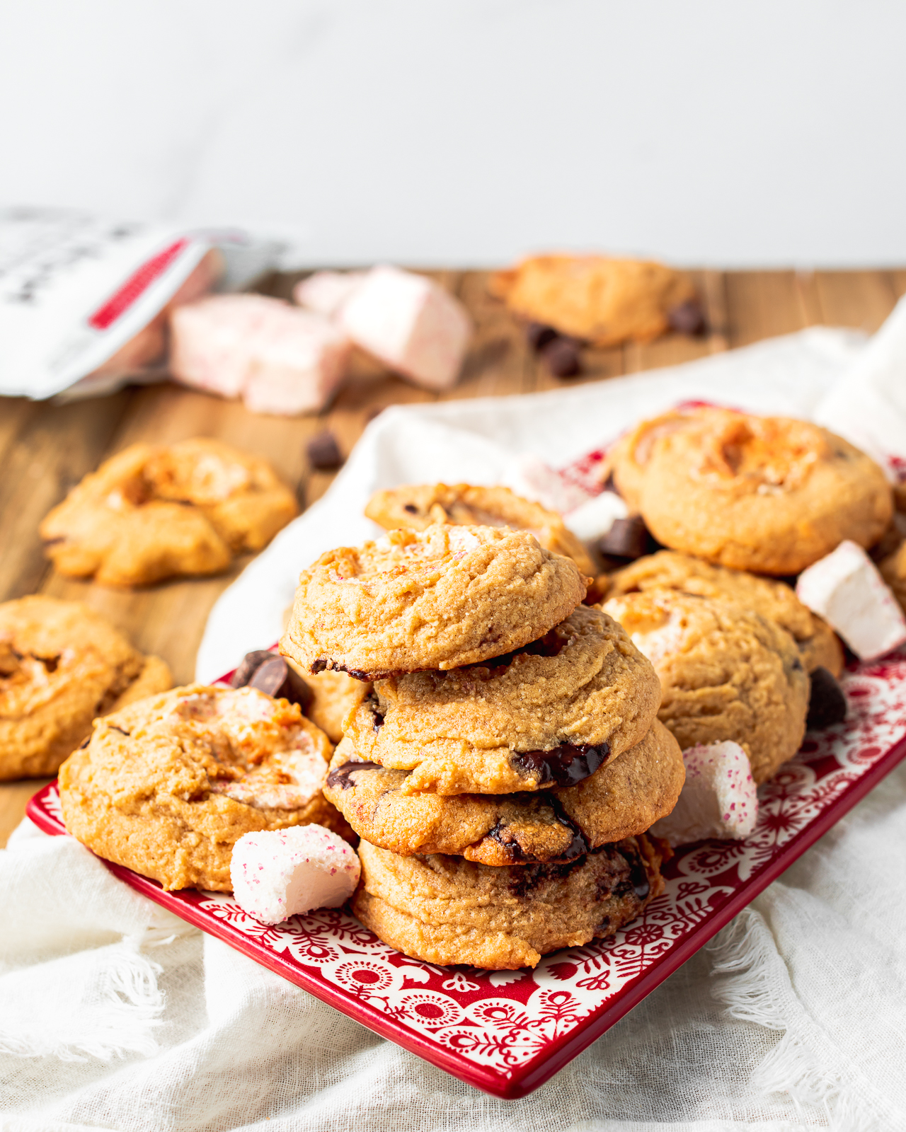 Chocolate Chip Cookies with Candy Cane Marshmallows
