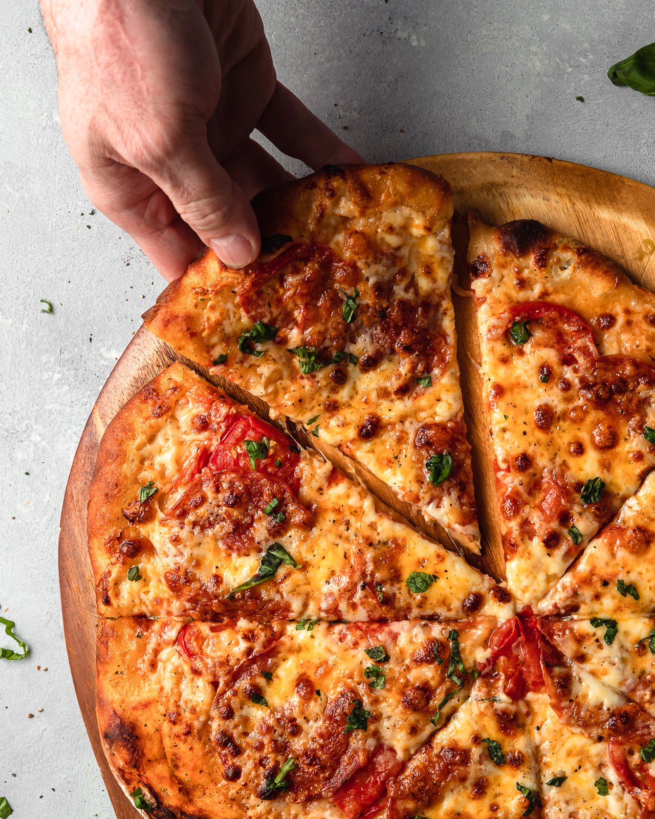 Cheese Pizza with Calabrese, Basil and Tomatoes
