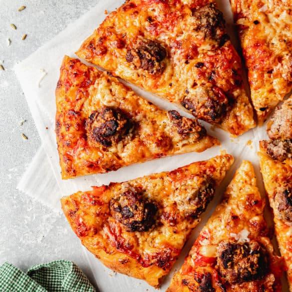Easy Meatball Pizza