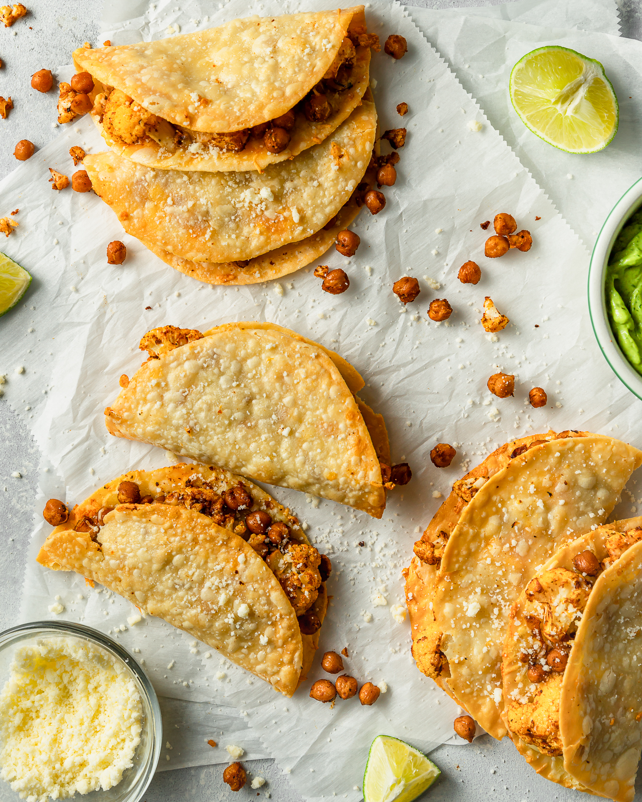 Cauliflower and Chickpea Tacos with avocado and hot sauce