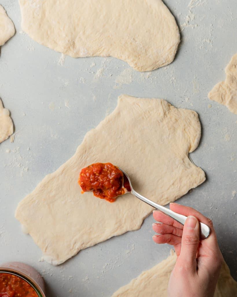 calzone dough with marinara sauce