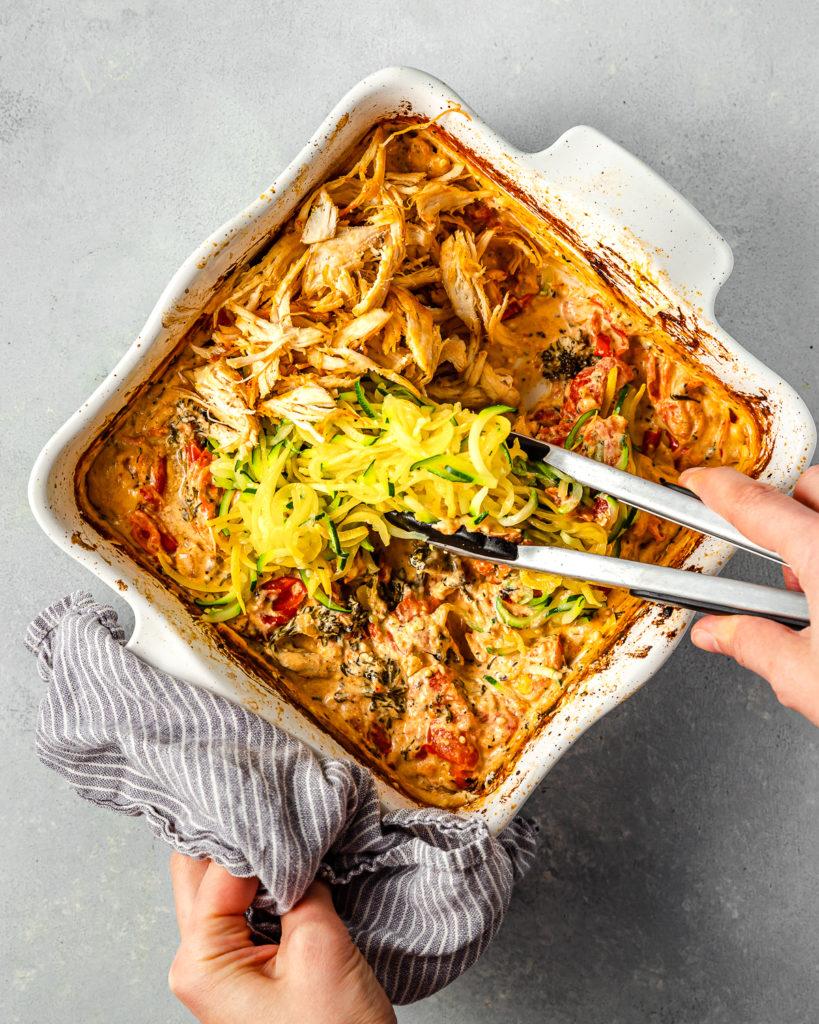 feta pasta with lemon pepper chicken