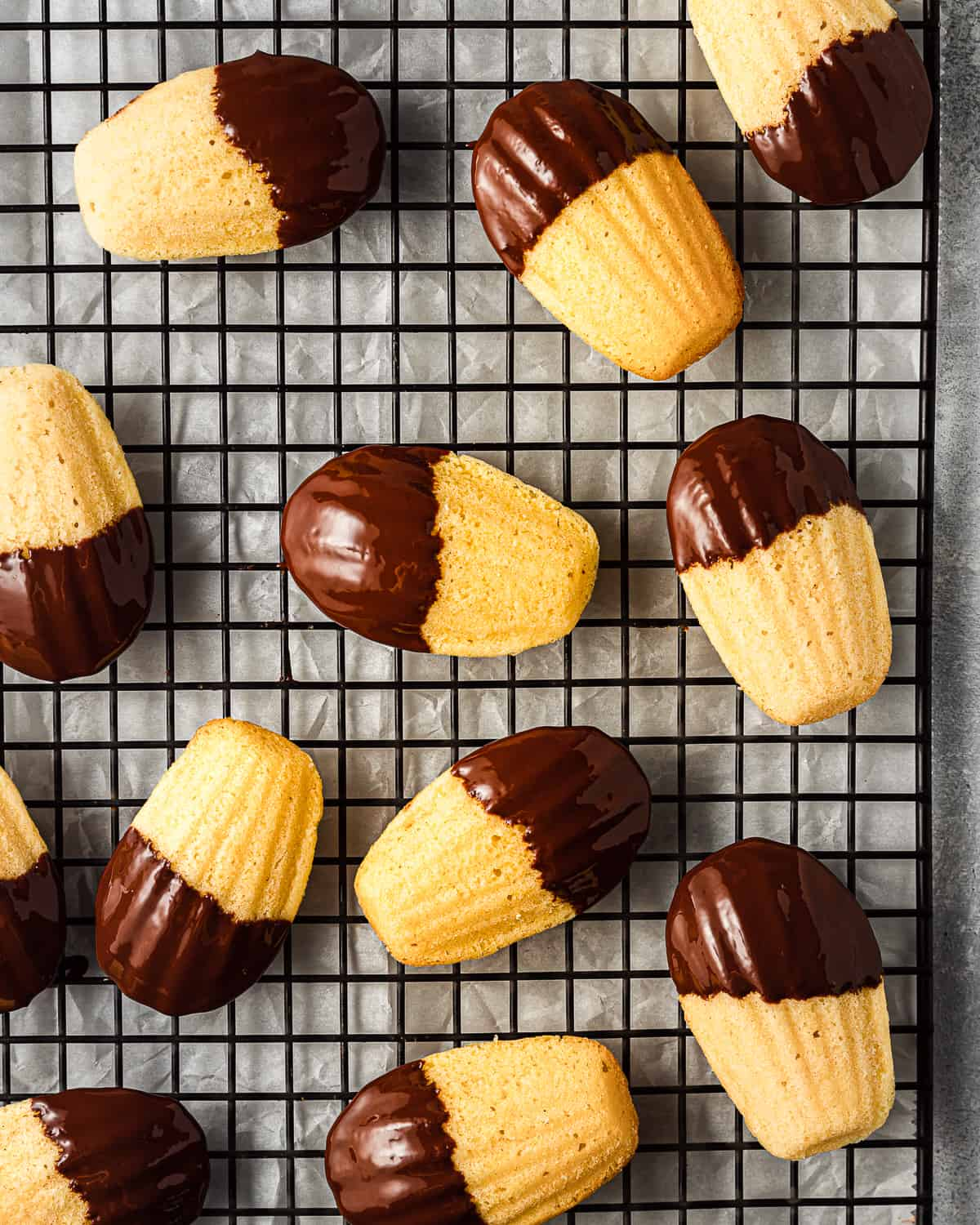 lemon madeleines dipped in chocolate