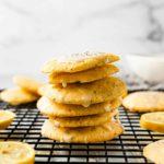 A stack of lemon poppy seed cookies