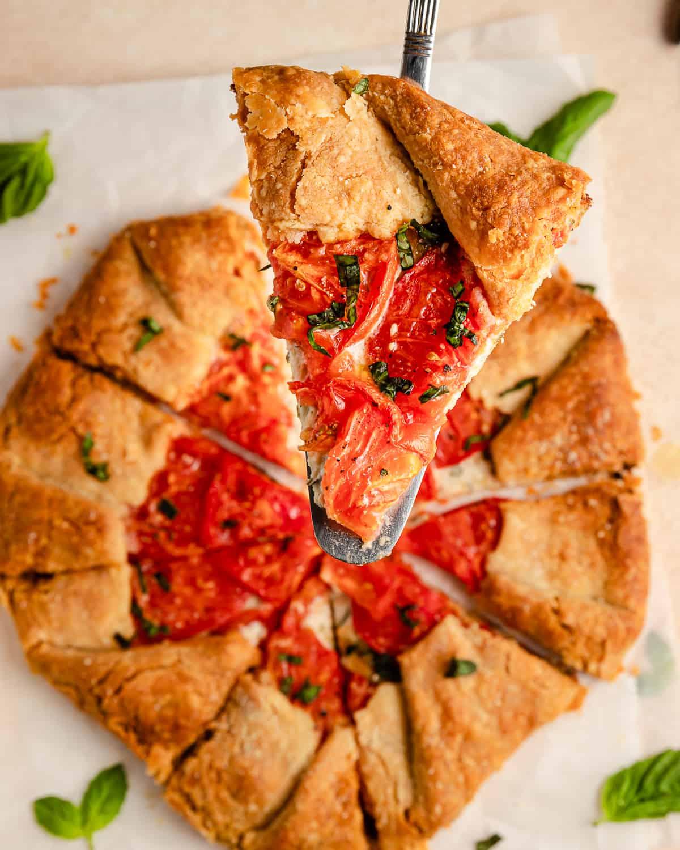 a slice of tomato galette