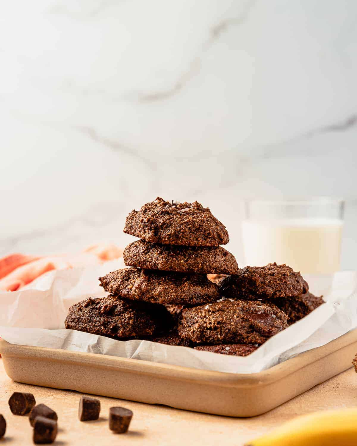 Chocolate Banana Cookies with a glass of milk
