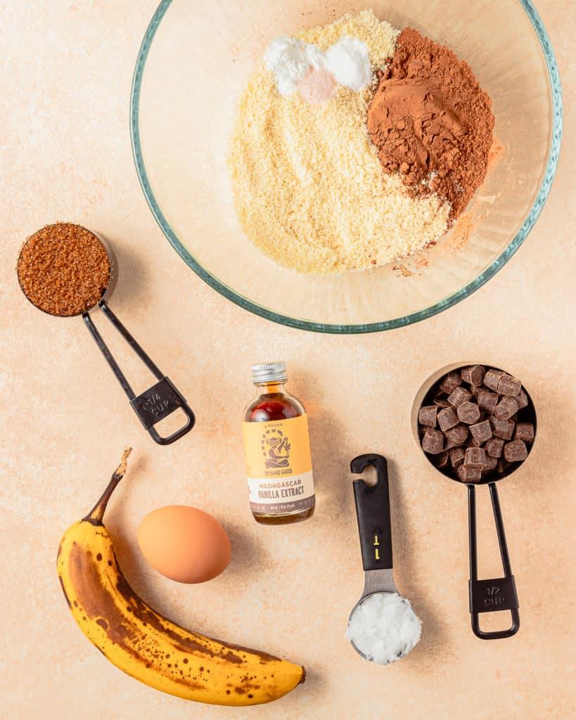 Ingredients to make Chocolate Banana Cookies