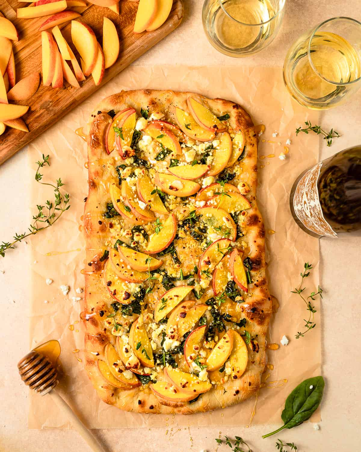 peach and goat cheese pizza with honey balsamic glaze